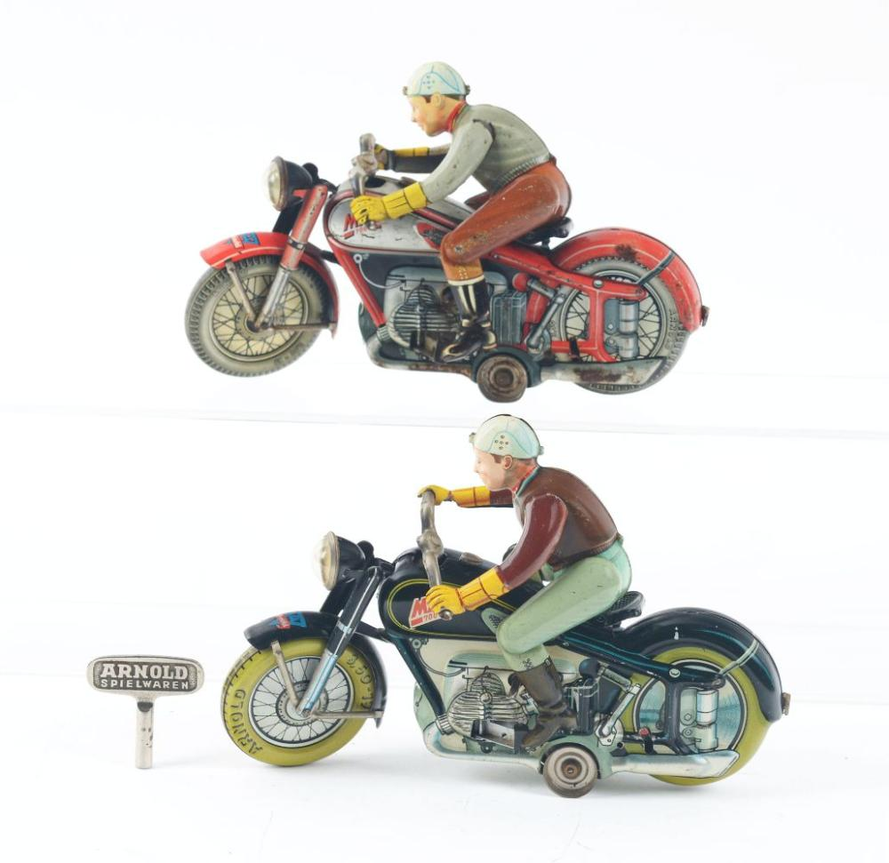 Lot 2154: Lot of 2: US Zone German Tin-Litho Wind-Up Arnold Mac the Motorcyclists.
