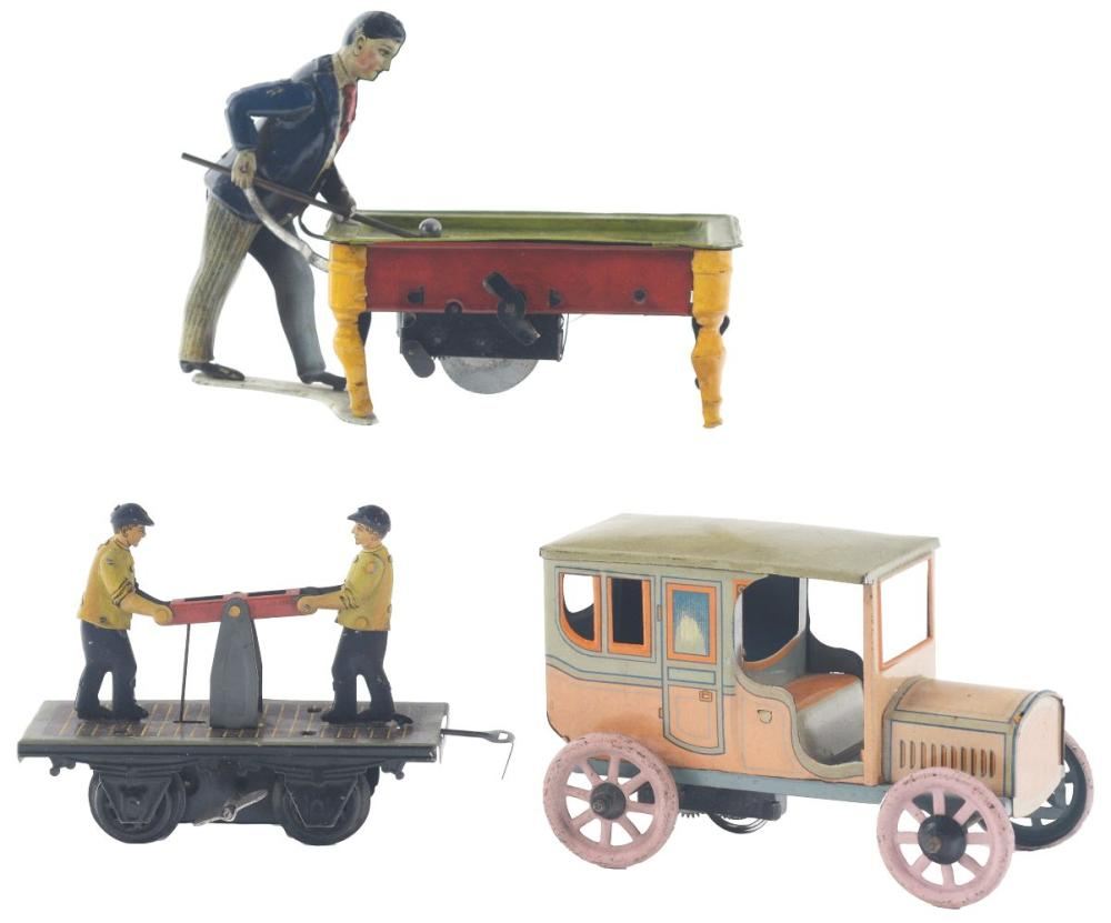 Lot 2143: Lot of 3: German Tin-Litho Wind-Up Toys.