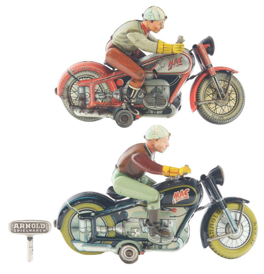 Lot of 2: US Zone German Tin-Litho Wind-Up Arnold Mac the Motorcyclists.