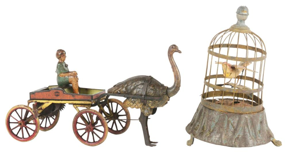 Lot 2150: Lot of 2: Early German Litho & Hand-Painted Animal Toys.