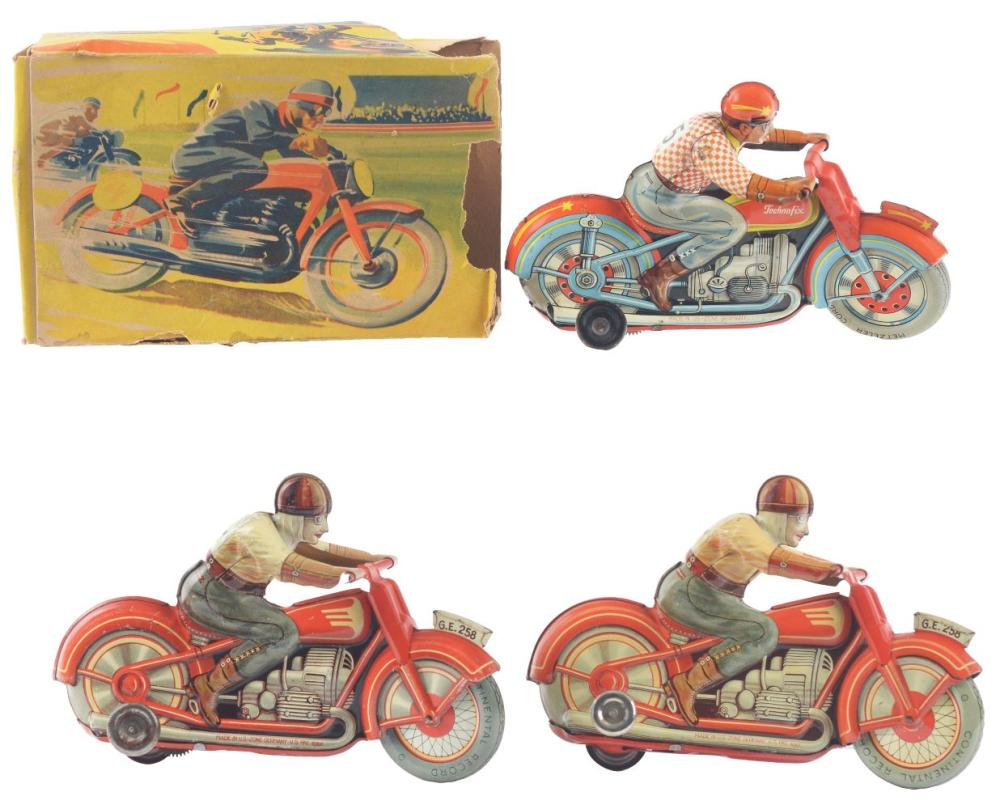 Lot 2153: Lot of 3: German Tin-Litho Wind-Up Technofix Motorcycles Toys.