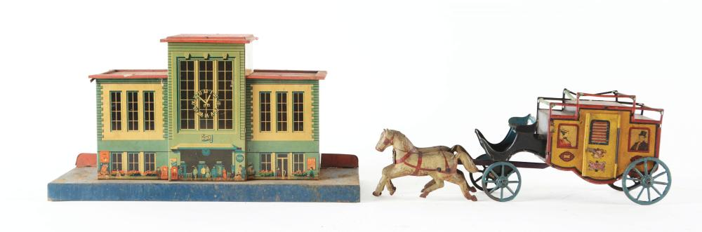 Lot 2142: Lot of 2: German Tin-Litho Toys.