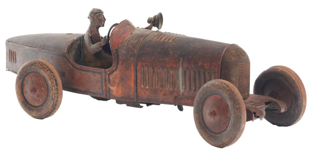 Scarce German Tin-Litho Wind-Up Boat-Tail Race Car.