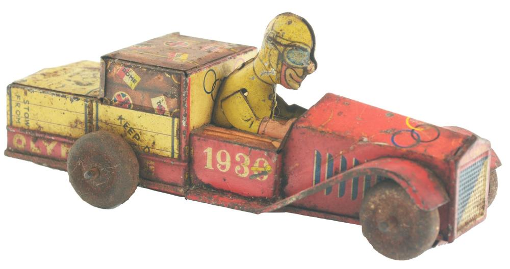 Early Pre-War Tin-Litho Rare 1936 Berlin Olympics Toy Car.