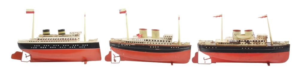 Lot of 3: German Tin Wind-Up Boats.