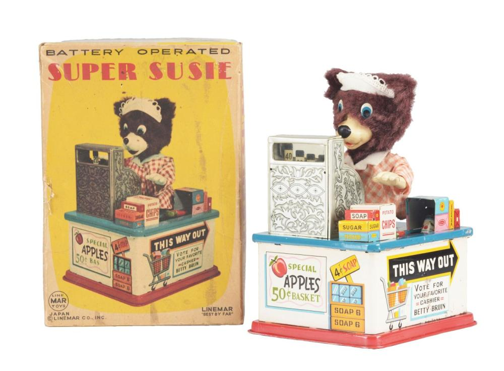 Japanese Tin-Litho Battery Operated Super Susie Cashier Bear In Box.
