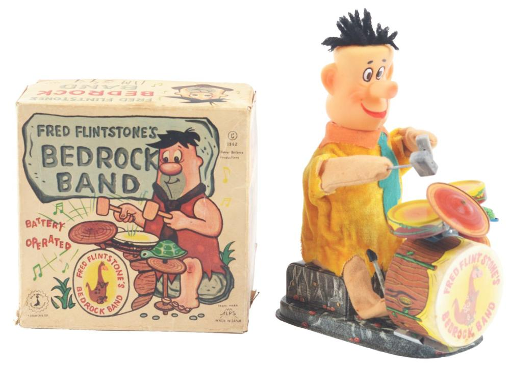 Lot 2169: Japanese Alps Battery-Operated Fred Flintstone Bedrock Band.