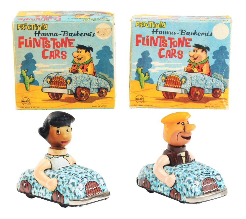 Lot of 2: Marx Tin-Litho Friction Flintstone Cars.
