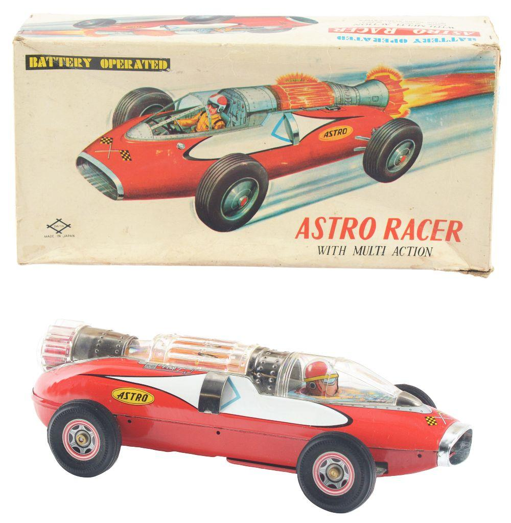 Lot 2173: Japanese Tin-Litho Battery-Operated Astro Racecar with Box.