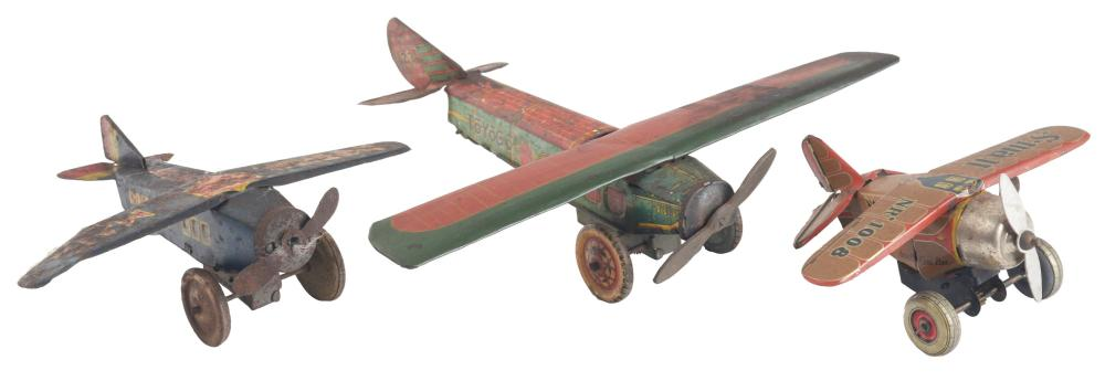Lot of 3: Japanese Pre-War Tin-Litho Wind-Up Airplane Toys.