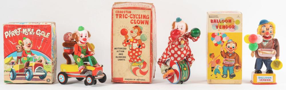 Lot of 3: Japanese Battery-Operated Circus Clown Toys.
