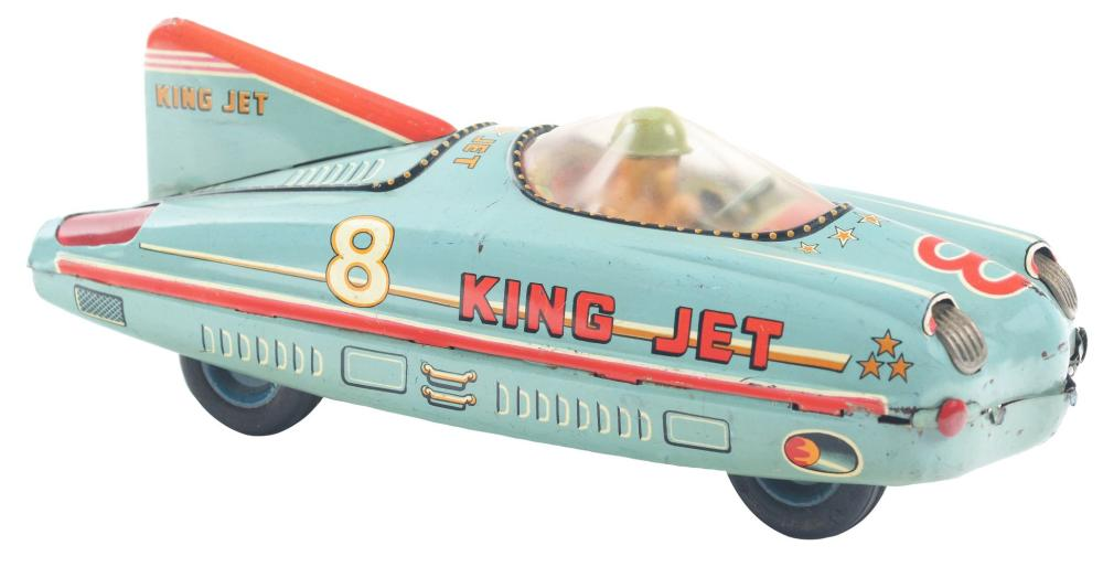 Japanese Tin-Litho Friction King Jet Race Car.