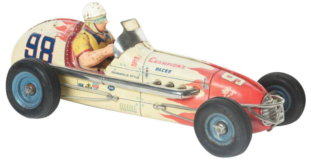 Lot 2182: Japanese Yonezawa Tin-Litho Friction Champion's Race Car Toy.