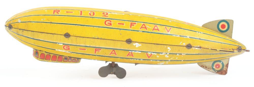 Lot 2177: Japanese Pre-War Tin-Litho Zeppelin Toy.