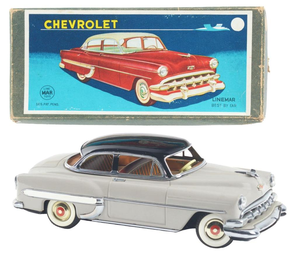 Japanese Linemar Tin-Litho Battery-Operated Chevy Automobile.
