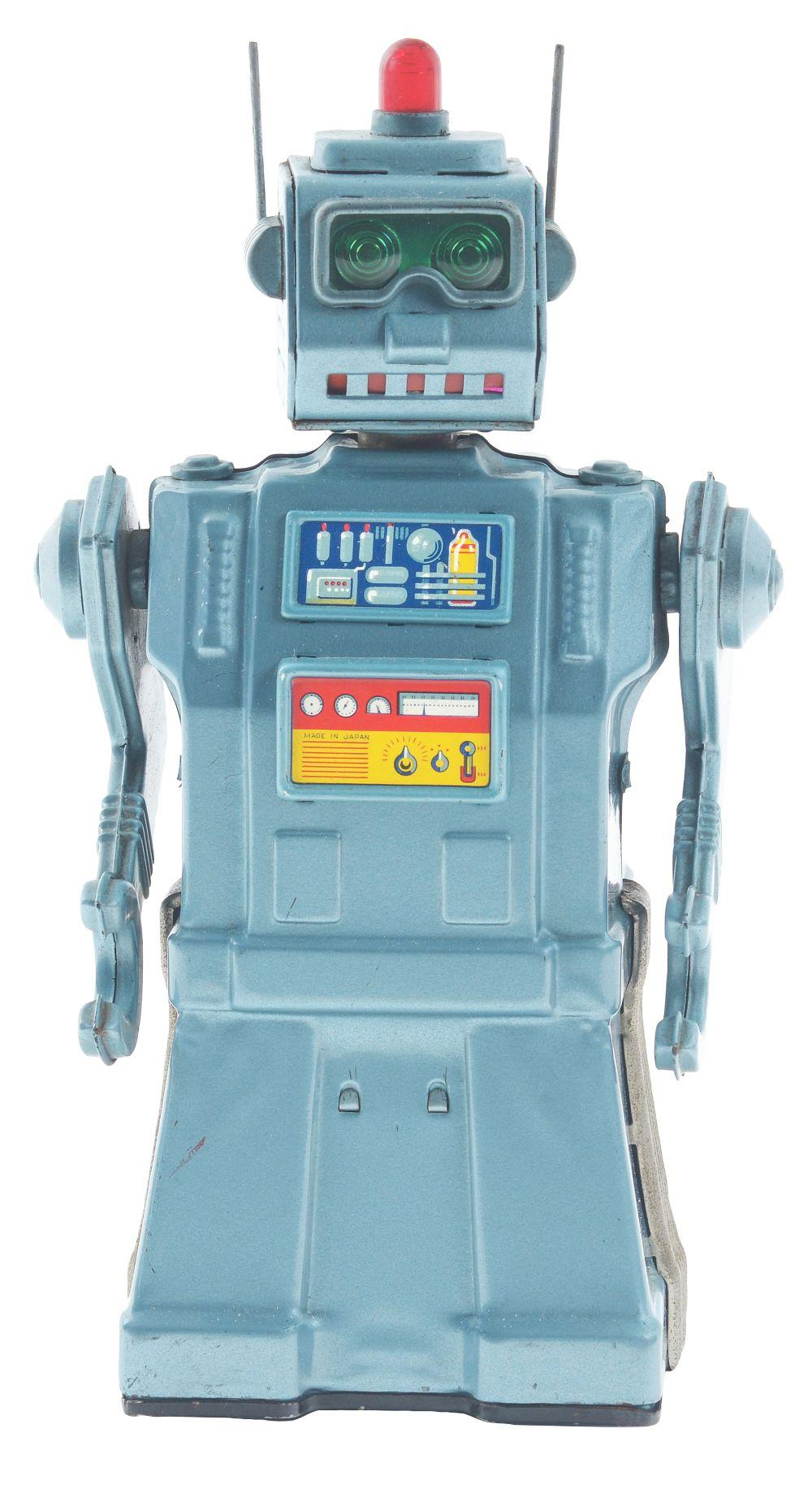 Lot 2186: Japanese Tin-Litho Battery Operated Directional Robot.