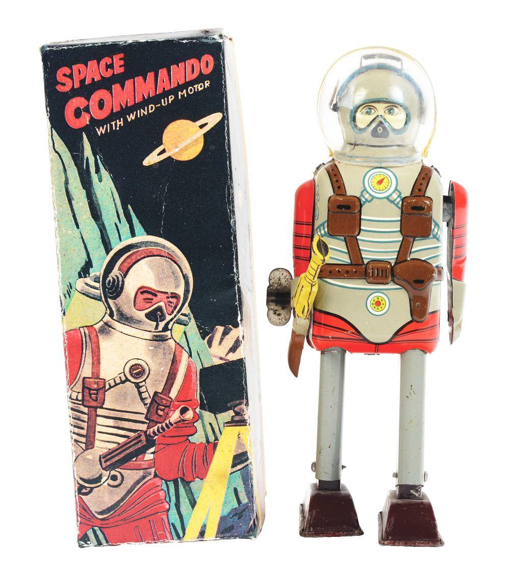 Lot 2187: Japanese Tin-Litho Wind-Up Space Commando Astronaut Toy.