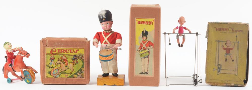 Lot 2185: Lot of 3: Pre-War Japanese Wind-Up Celluloid Toys.