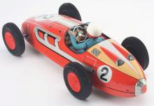 Lot 2193: Tin-Litho Friction Large Super Jet Race Car.