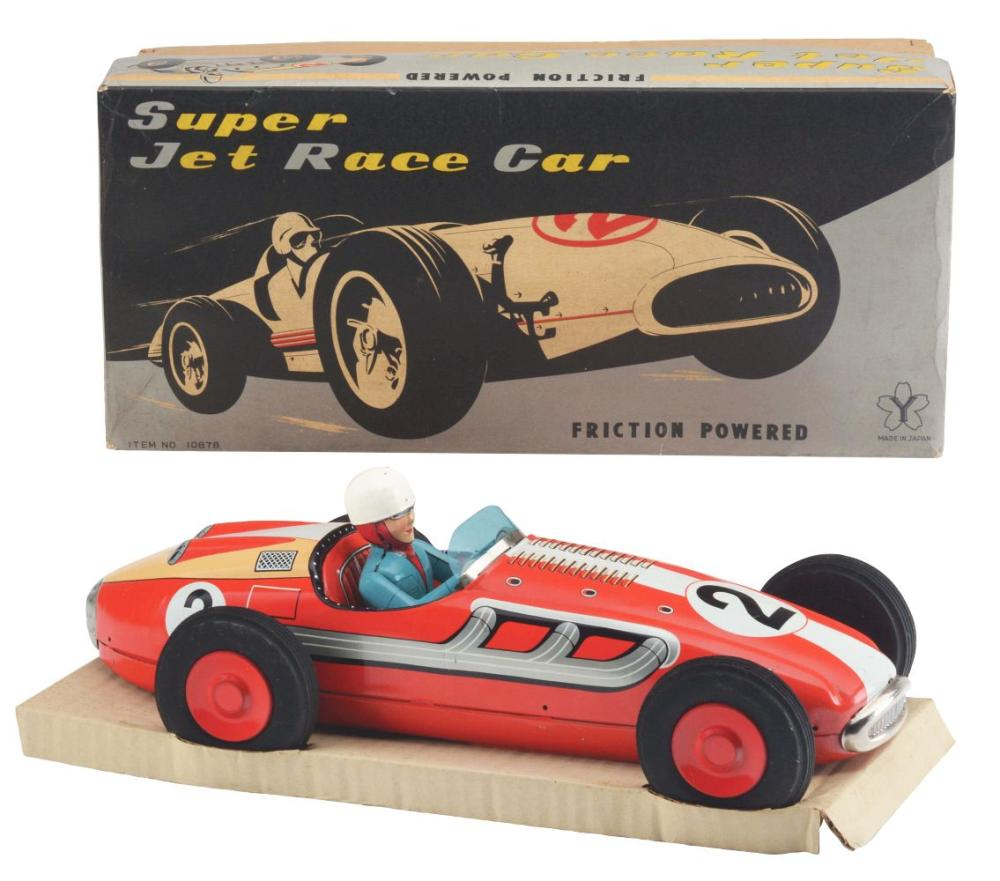 Tin-Litho Friction Large Super Jet Race Car.