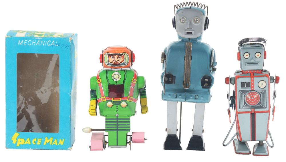 Lot of 3: Japanese Tin-Litho Wind-Up & Battery-Operated Robots.