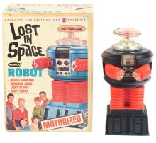Lot 2191: Lost In Space Battery-Operated Robot Toy in Original Box.