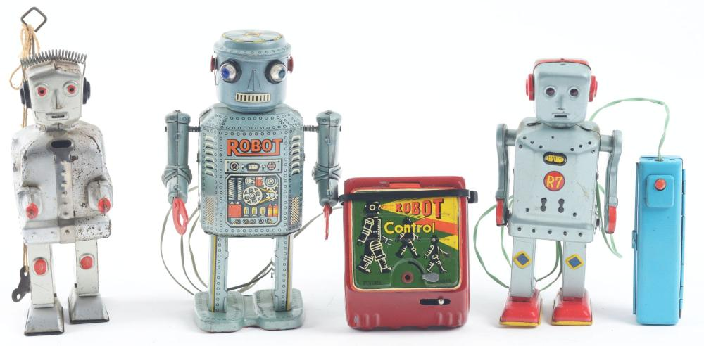 Lot of 3: Japanese & German Tin-Litho Wind-Up & Battery-Operated Robot Toys.