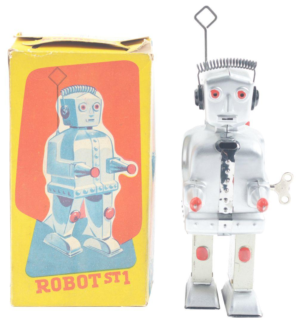 Strenco West German Tin-Litho Wind-Up Robot.