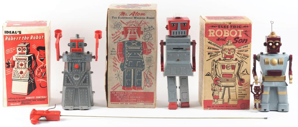 Lot of 3: American Made Plastic Robots.