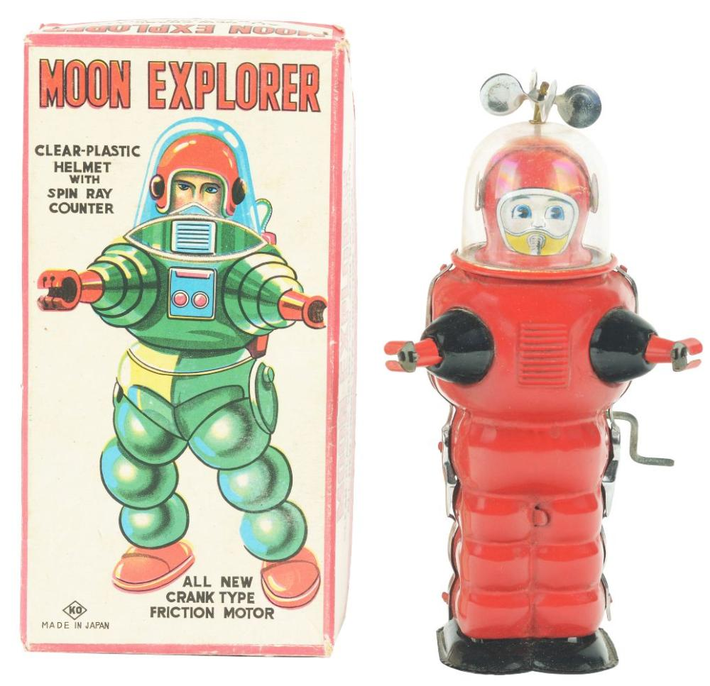 Japanese Tin-Litho Friction Moon Explorer Astronaut Toy with Original Box.