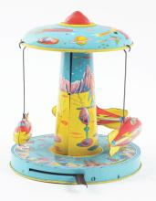 Lot 2199: Chein Tin-Litho Lever-Action Space Rocket Ride Toy.