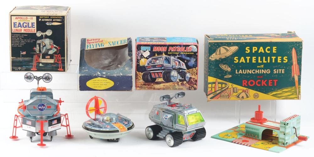 Lot 2202: Lot of 4: Japanese & American Tin-Litho & Plastic Space Toys.