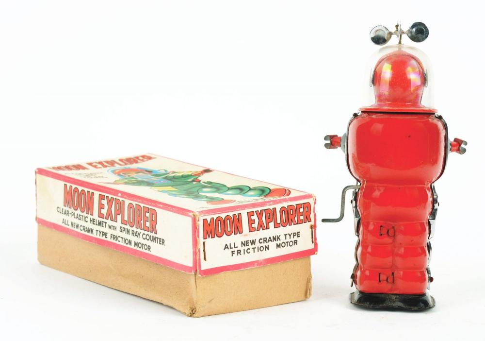 Lot 2198: Japanese Tin-Litho Friction Moon Explorer Astronaut Toy with Original Box.
