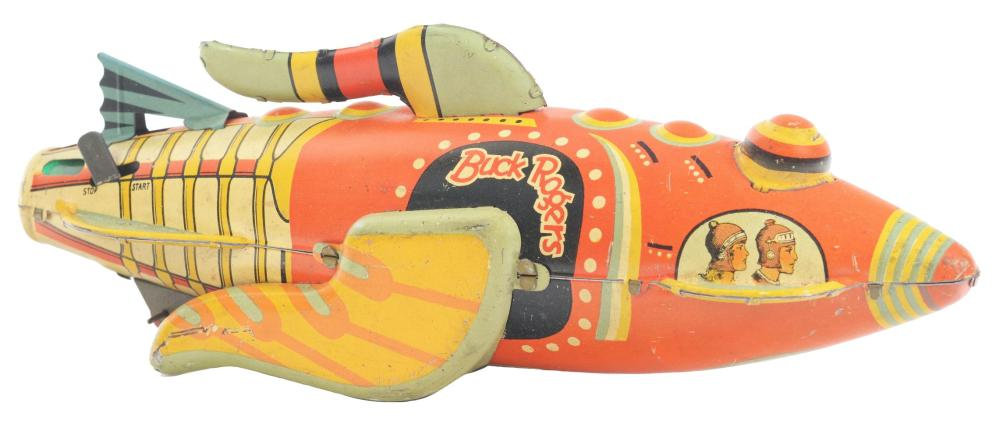 Lot 2195: Marx Tin-Litho Wind-Up Buck Rogers Rocketship.