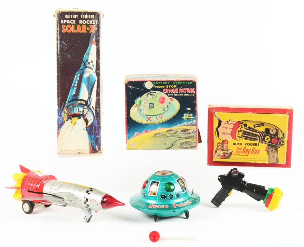 Lot of 3: Japanese & American Battery-Operated Space Related Toys.