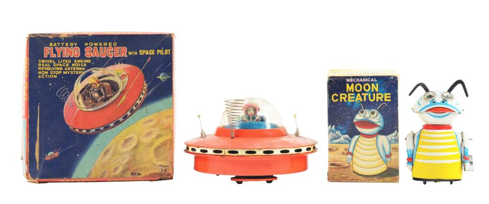 Lot 2197: Lot of 2: Japanese Tin-Litho Space Toys with Boxes.