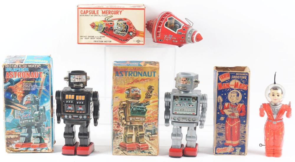 Lot 2201: Lot of 4: Japanese & American Made Tin-Litho & Plastic Space Toys.