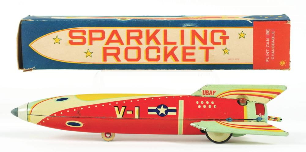 Lot 2207: Scarce Japanese Tin-Litho V-1 Rocket Toy.