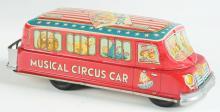 Lot 2209: Tin-Litho Friction Musical Circus Car.