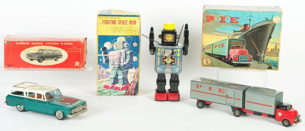 Lot 2206: Lot of 3: Japanese Tin-Litho Battery-Operated and Friction Toys.