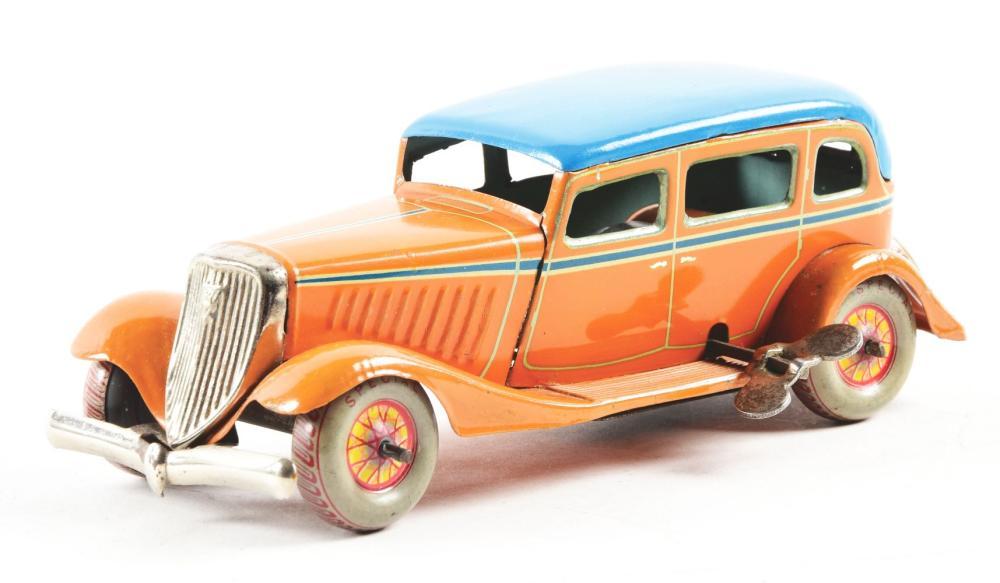 Lot 2208: Pre-War Japanese Tin-Litho Wind-Up Sedan Automobile.