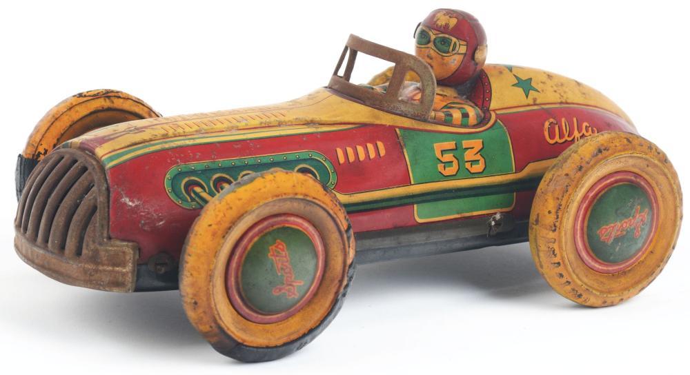 Lot 2211: Japanese Tin-Litho Friction Alpha 53 Race Car.
