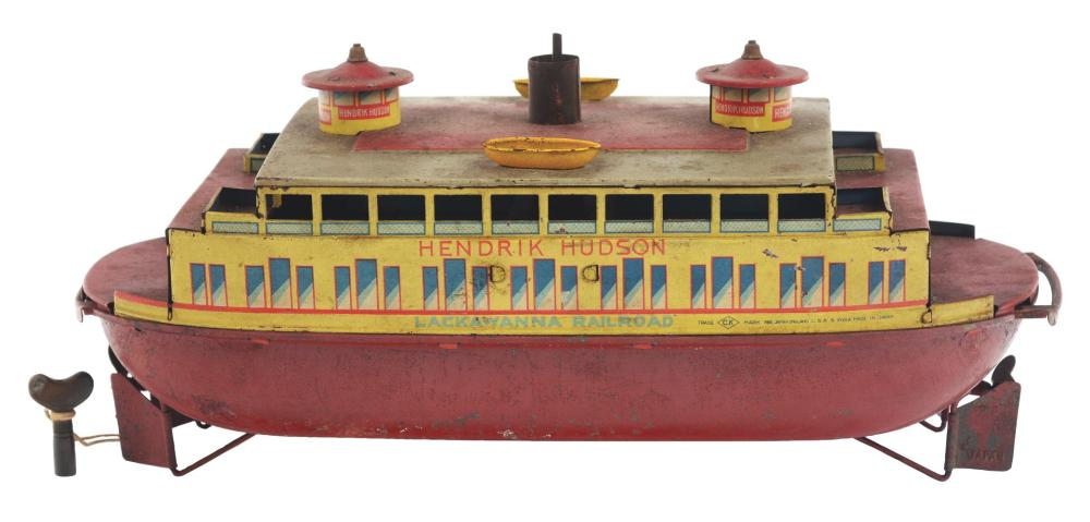 Lot 2212: Japanese Pre-War Hendrik Hudson Tin-Litho Wind-Up Ferry Boat.