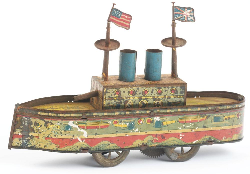 Lot 2225: Japanese Pre-War Tin-Litho Wind-Up Battleship Toy.