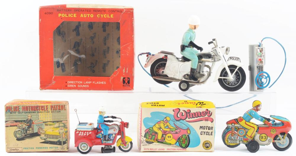 Lot 2221: Lot of 3: Japanese and Indian Friction and Battery-Operated Motorcycle Toys.