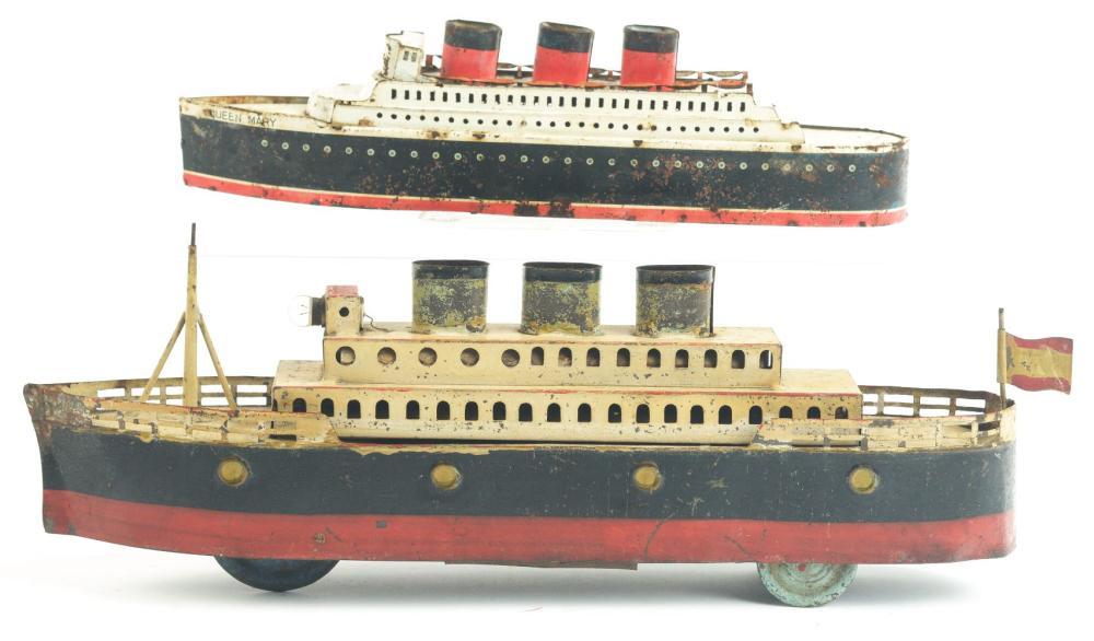 Lot 2227: Lot of 2: Pre-War Japanese Tin-Litho Wind-Up Ocean Liner Boats.