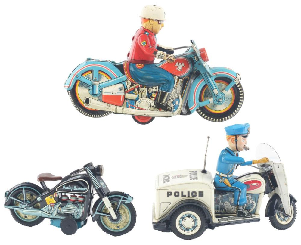 Lot 2222: Lot of 3: Japanese Tin-Litho Friction & Battery-Operated Motorcycle Toys.