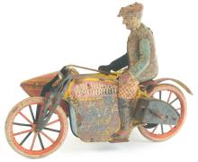 Lot 2233: Early Rare Japanese Pre-War Harely Wind-Up Motorcycle Toy With Sidecar.