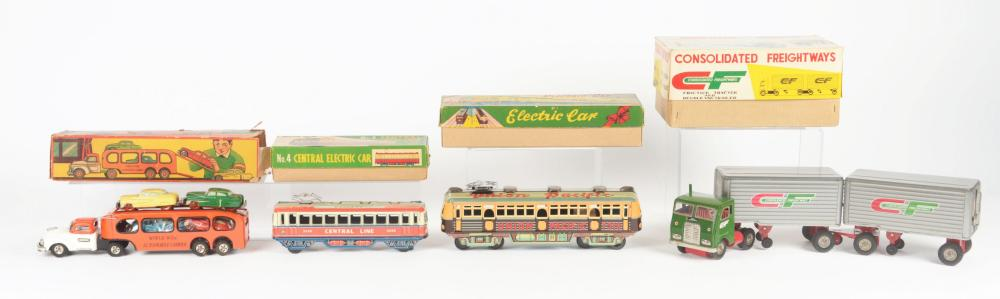 Lot 2236: Lot of 4: Japanese Tin-Litho Friction Vehicle Toys in Original Boxes.