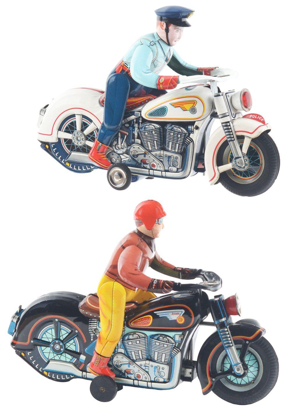 Lot 2240: Lot of 2: Japanese Tin-Litho Battery-Operated Motorcycle Toys.